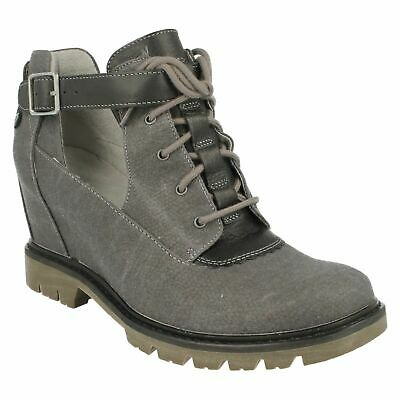 LADIES CATERPILLAR LACE UP BUCKLE STRAP WEDGE ANKLE BOOTS SHOES HELENA SIZE 8