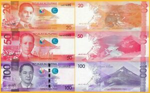 Philippines-Set-20-50-100-Piso-2017-UNC-Banknotes