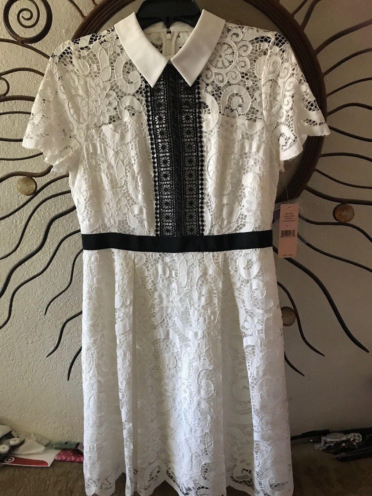 White Lace Nanette Lepore Collar Dress NWT Size 6  170