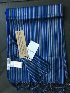 Paul-Smith-Blue-MAINLINE-Multi-Stripe-100-Silk-Scarf-Men-New-190cm-x-22cm
