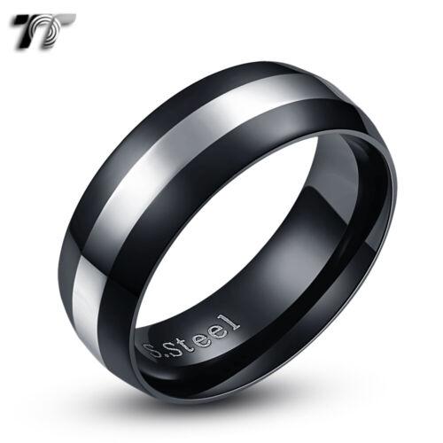 TT 8mm Stainless Steel Silver Stripe Black Centre Wedding Band Ring R253