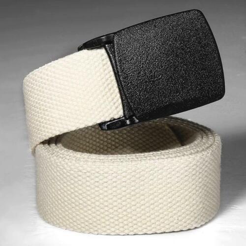 Mens Womens Plain Webbing Canvas Belt Buckle Silver Cotton Fabric Unisex US