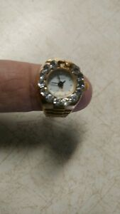 1cb0e5ce710 Vintage Gold Tone Bonetto Digits Ring   Finger Watch Jewelry Diamond ...
