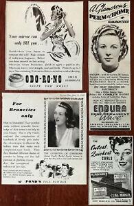 Pond-s-Face-Powder-Odo-Ro-No-Deodorant-Endura-Perm-at-Home-Kirbigrip-Ads-1940s