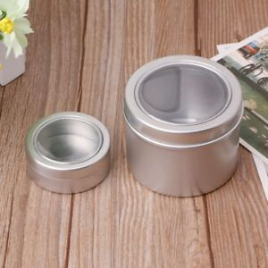 25-60ml-Round-Clear-Window-Tin-Storage-Spices-Case-Aluminum-Container-Box-Can