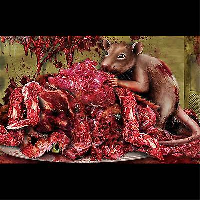 Microwave Sticker Cling BLOODY RAT EXPLOSION Halloween Horror Prop Decoration