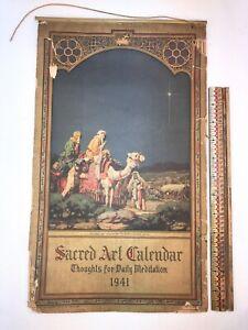 Vtg 1941 Daily Meditation Sacred Art Calendar Religious Lithograph Print