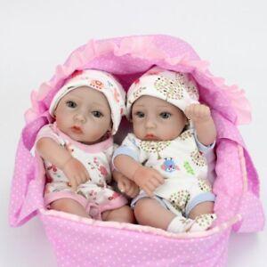 Twins-Reborn-Preemie-Dolls-Full-Silicone-Vinyl-Newborn-Baby-Boy-Girl-Toys-Cradle