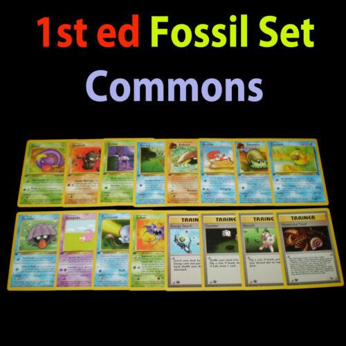 NM 1st edition COMPLETE Pokemon FOSSIL 16-Card Common Set//62 Trainer Original