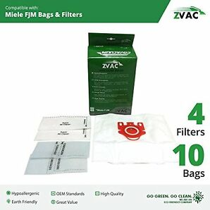 Miele Zvac Fjm Vacuum Bags (10 Bags + 4 Filters), New, Free Shipping
