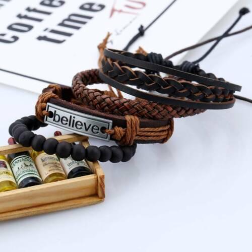 Vintage Cowhide Leather Bracelet Hand Woven Beaded Punk Bracelets AS