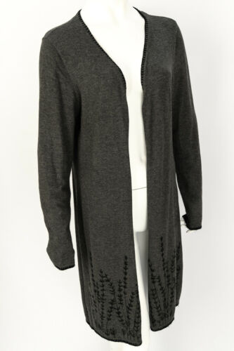 Belldini Grey Long Cardigan Large Embroidered Twig