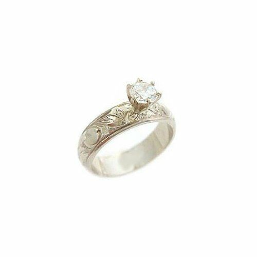 Hawaiian Heirloom Jewelry 5mm 14k White gold 1 2 Carat CZ Engagement Ring