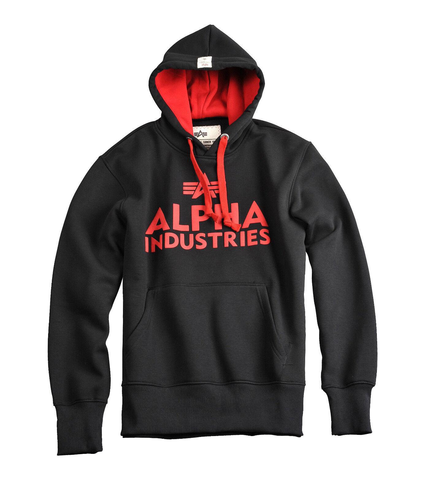 Alpha Alpha Alpha Industries Foam Print Hoody Pullover Uomo Training Felpa Cappuccio Rosso 1b5c28