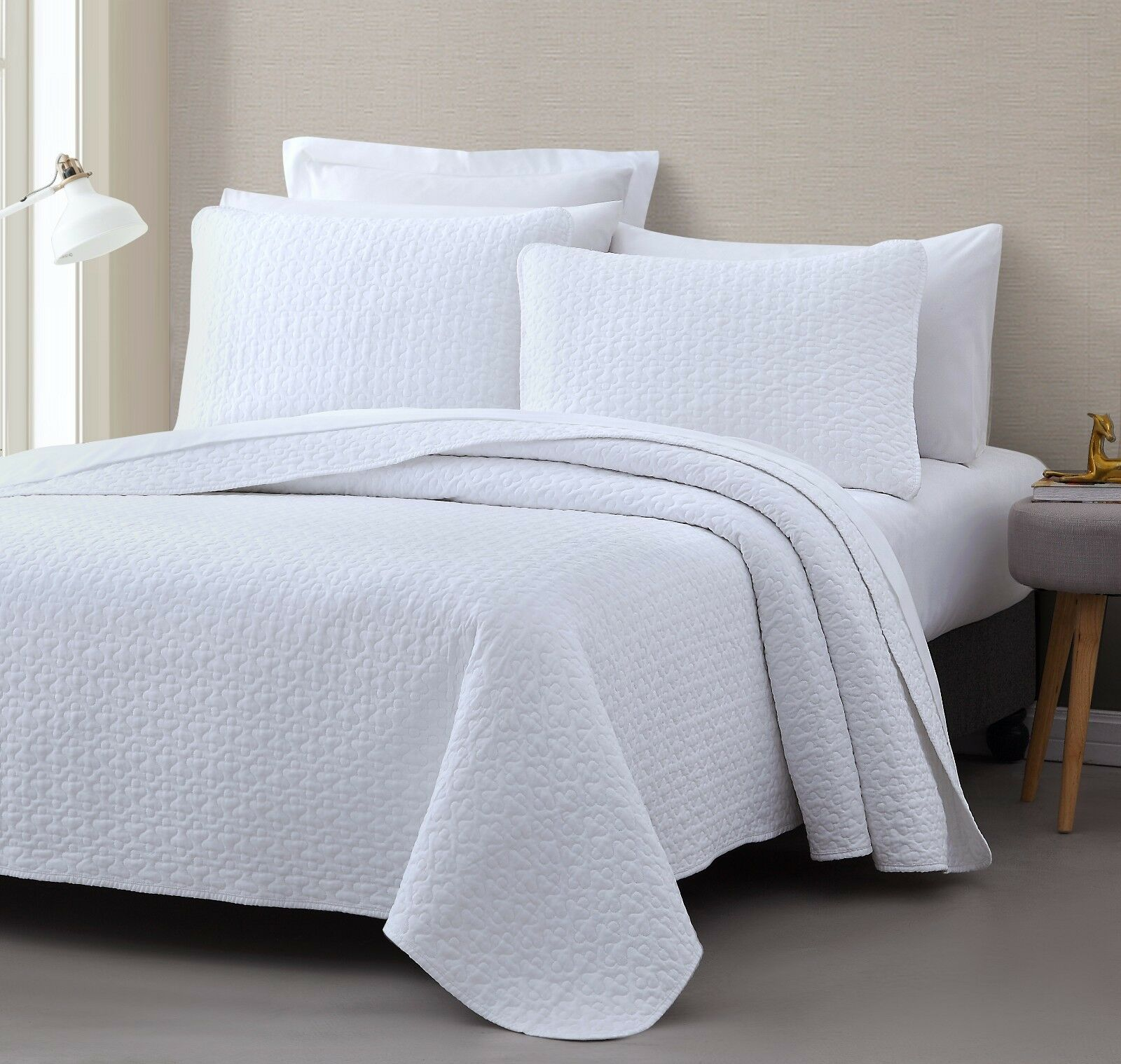 Vega 3pc Quilted Bedspread  Coverlet Set, Stitched pattern 100% Cotton Filling