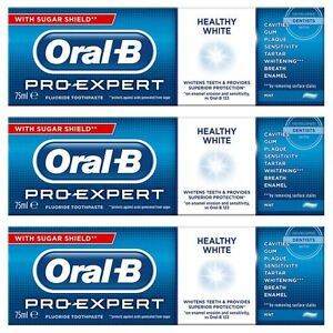 Details about 3 Oral-B Pro Expert Healthy White Fluoride Toothpaste  Whitening Mint SugarShield