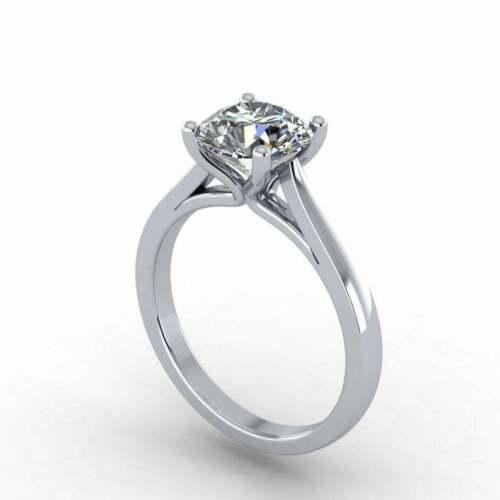 2.Carat Near White Round Moissanite Diamond Engagement Ring Solid 14k White Gold