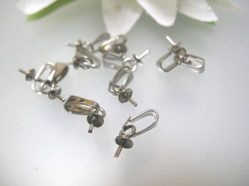 Open Clip bail w// post half drilled cap pendant beads Silver plated findings