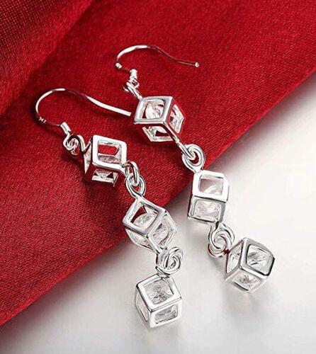 Sterling Silber überzogene Diamant-Quadrat-förmige Ohrhänger Ohrringe Fast T6L3