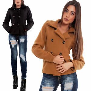 Giacca-donna-corto-panno-doppiopetto-cappotto-giaccone-avvitato-TOOCOOL-VB-8149