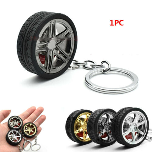 Modification Rubber Round Decoration Metal Tire Car Keychain Wheel Keyring