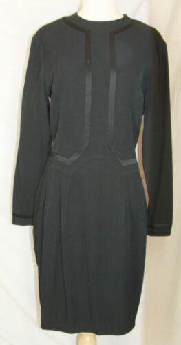 Vintage black wool dress satin trim long sleeve Si