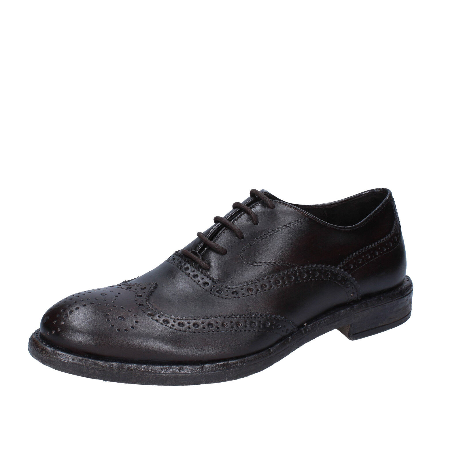 Mens shoes +2 MADE IN ITALY 7 () elegant dark brown leather BX422-41