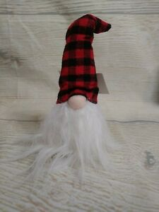 New Gnome Christmas Ornament Shelf Sitter Red Bkack Buffalo Check Plaid Fur Ebay