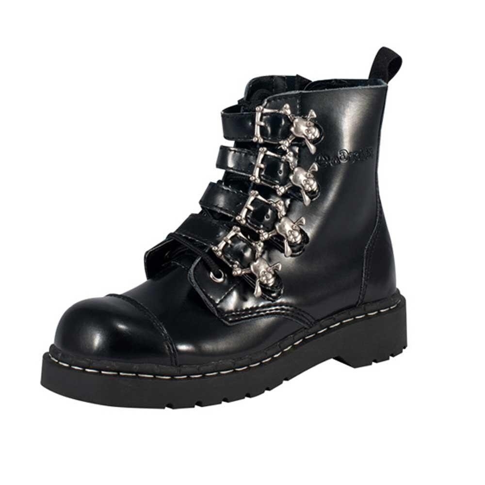 T.U.K. T2043 Tuk Ladies New Bnarchic 7 Eye Boot Buckle Black Leather Goth Boots