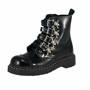 T u Eye en Nouveau cuir Boot Goth 7 noires T2043 Anarchic Bottes Ladies Tuk Buckle k rrTdq
