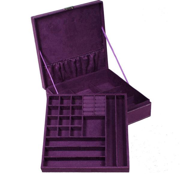 2 Colors Velvet Capacity Double-tier Jewelry Box Storage Case Girl&Women BOX06