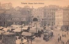 TRIESTE, ITALY ~ PIAZZA CARLO GOLDONI OVERVIEW, TROLLEYS, MARKET ~ c. 1904-14