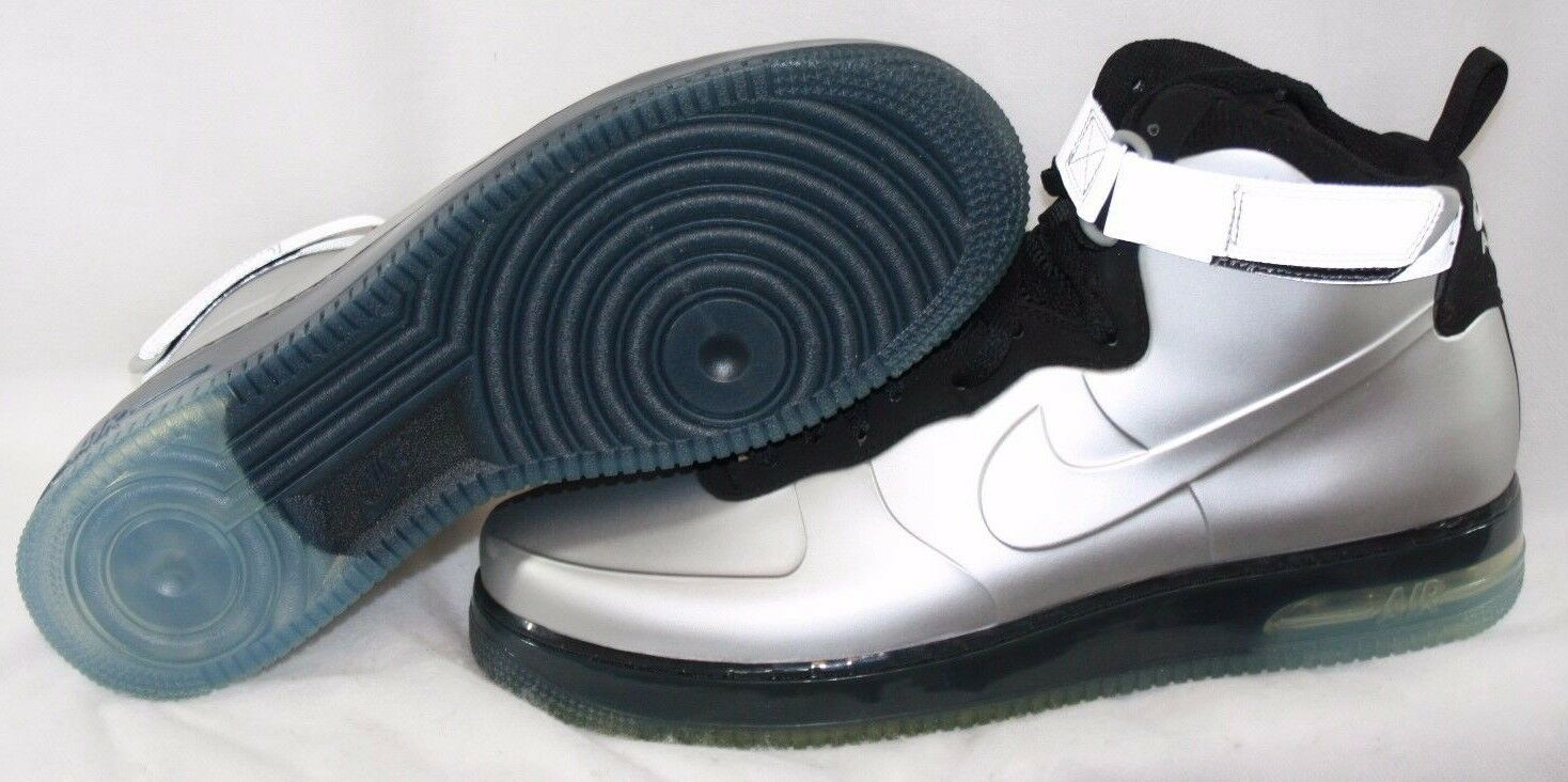 NEW Mens NIKE Air Force 1 002 Foamposite 415419 002 1 Silver Sneakers Shoes DISPLAY 4cce23