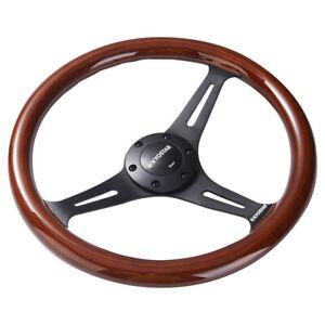 14-039-039-Classic-Wooden-Steering-Wheel-350mm-Wood-Grain-Trim-Chrome-Spoke-Universal