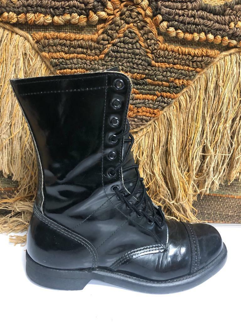 Vintage COMBAT Mens US Army Tropical Canvas Leather Black Jungle Boot SZ 9