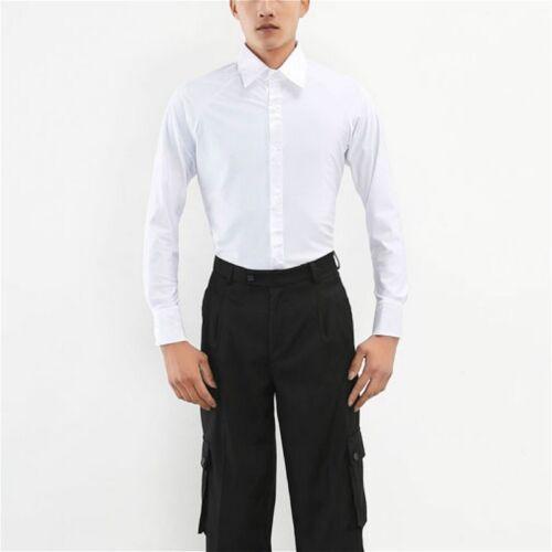 Men Dance Shirt Ballroom Modern Salsa Samba Latin Long Sleeve Dancewear Soft Top