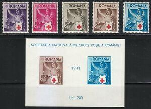 Romania-1941-MNH-Mi-696-700-Block-16-Sc-B164-B169-Romanian-Red-Cross