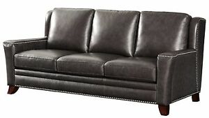 Traditional Greystone Genuine Leather Sofa With Nailhead Trim | eBay