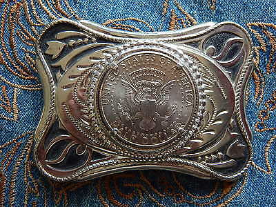 NEW USA AMERICAN HALF DOLLAR eagle coin Boucle de ceinture métal argenté western