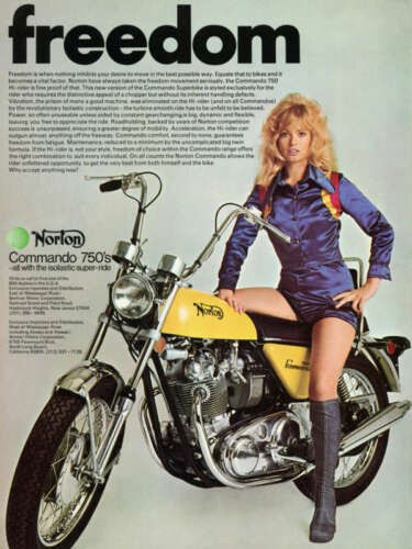 1971 NORTON COMMANDO 750 VINTAGE MOTORCYCLE AD POSTER 36x27 STYLE B 9MIL PAPER