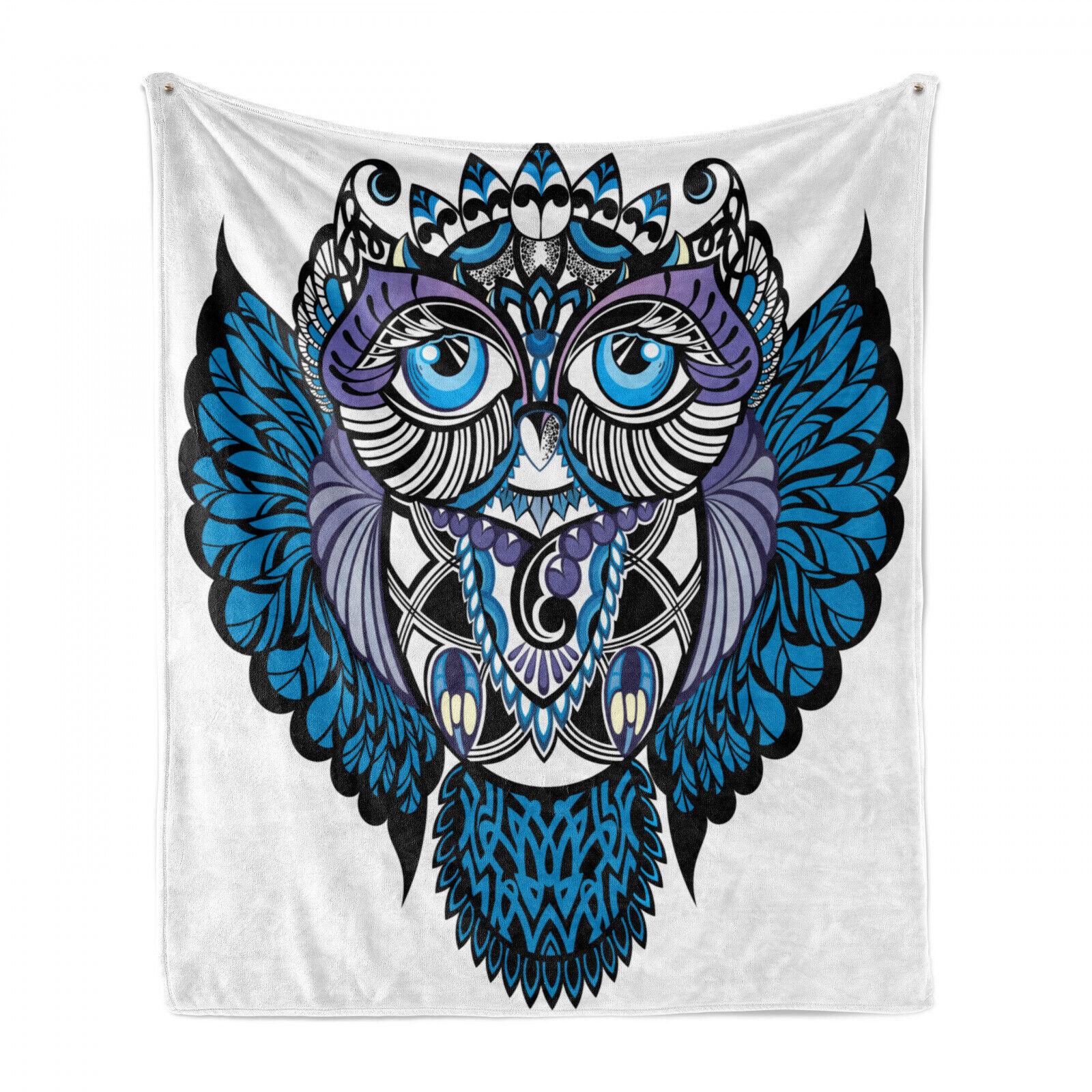 Stammes Weich Flanell Fleece Decke Eulen-Vogel-Tier Tattoo