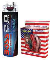 Boss Cpbl2 2 Farad Car Digital Voltage Capacitor Power Audio Cap + 4 Ga Amp Kit