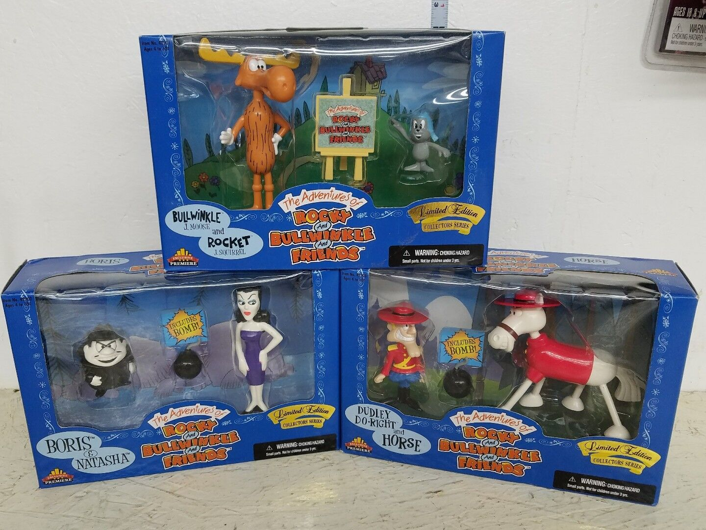 Rocky and Bullwinkle Action Figure set Dudley and Horse Boris Natasha