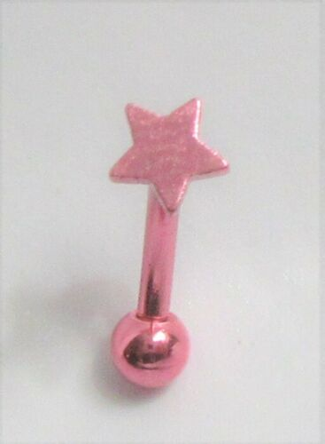 Neon Pink Star Vertical VCH Clitoral Clit Hood Piercing Ring Curved Post 16G