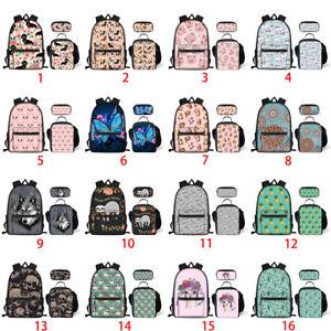 e7e9ae49a6e5 Details about 3pcs/set Backpack Girls Women School Lunch Pen Bag Wolf Sloth  Butterfly Rucksack