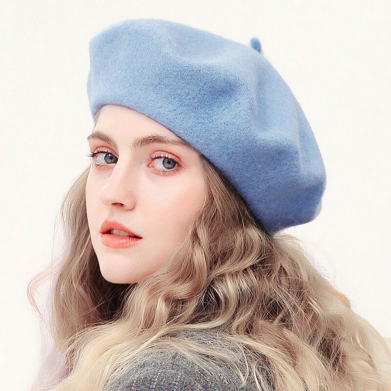 Multicolor Fashion Spring Winter Womens Wool Beret Hat Solid Color Painters Hat Female Winter Warm Hats for Girl 5 for Adult