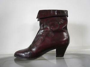 Details zu Damen Stiefelette moshoutis weinrot 90er TRUE VINTAGE Stiefel burgundy bordeaux