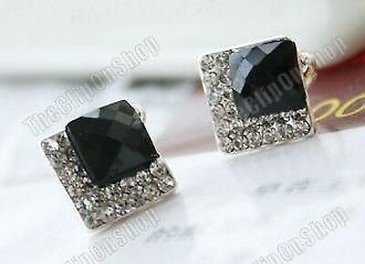 U CLIP ON art deco style BLACK SQUARE CRYSTAL EARRINGS