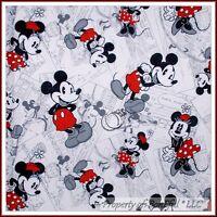 BonEful Fabric BTY 1 YD Cotton Quilt B&W Red White VTG DISNEY Mickey Minnie Dot