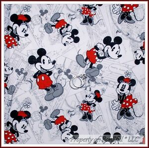 BonEful Fabric BTY 1 YD Cotton Quilt B/&W Red White VTG DISNEY Mickey Minnie Dot